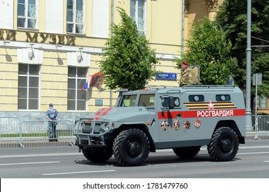 """MOSCOW, RUSSIA - JUNE 24, 2020: Multipurpose armored car """"Tigr-M"""" of the Rosgvardia troops on Mokhovaya Street in Moscow during the parade dedicated to the 75th anniversary of Victory"""