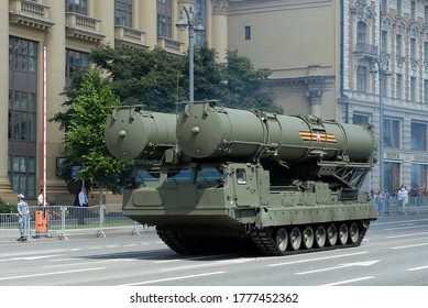 MOSCOW, RUSSIA - JUNE 24, 2020:S-300V4 anti-aircraft missile system on Mokhovaya street during the parade dedicated to the 75th anniversary of Victory in the great Patriotic war
