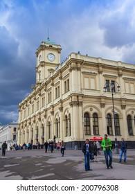 Moscow, Russia, June 25, 2014. Komsomolskaya Square and the Leningrad station