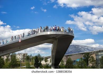 MOSCOW, RUSSIA - June 25, 2018: bridge in Zaryadye Park