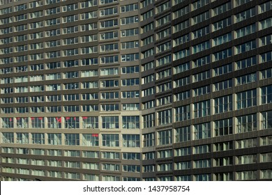 MOSCOW, RUSSIA - June 25, 2019: Residential area and buildings of New Arbat Street in center of Moscow, Russia