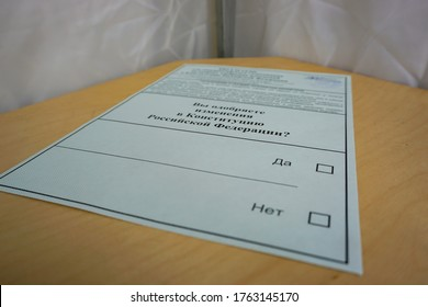 MOSCOW, RUSSIA - June 25, 2020: vote for amendments to the constitution of the Russian Federation, voting ballot, the voter has not yet made his choice