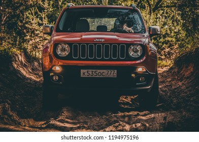 MOSCOW, RUSSIA - JUNE 26, 2016 JEEP RENEGADE LIMITED EDITION LATITUDE. Civilian compact four-wheel drive (4WD) SUV car, front-side view. SUV car with modern features.