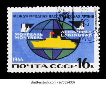 MOSCOW, RUSSIA - JUNE 26, 2017: A stamp printed in USSR (Russia) shows Passenger ship Alexander Pushkin , International route Leningrad - Montreal, circa 1966