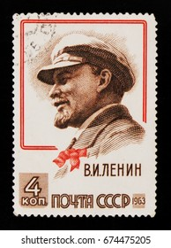MOSCOW, RUSSIA - JUNE 26, 2017: A stamp printed in USSR (Russia) shows Vladimir Lenin (Ulyanov) portrait, 93rd anniversary of the birth of Lenin, circa 1963