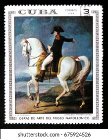 "MOSCOW, RUSSIA - JUNE 26, 2017: A stamp printed in Cuba shows a painting ""First Consul Napoleon"" by Regnault, the series ""Artworks of Napoleon Museum"", circa 1969"