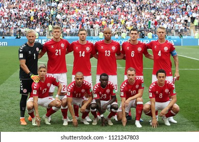 MOSCOW, RUSSIA - June 26, 2018: Denmark team posing for a photo during the FIFA 2018 World Cup. Denmark is facing France in the Group C at Luzhniki Stadium.