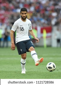 MOSCOW, RUSSIA - June 26, 2018: Nabil Fekir of France kicks the ball during the World Cup Group C game between France and Denmark at Luzhniki Stadium.