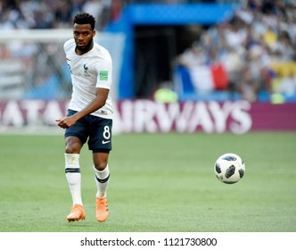 MOSCOW, RUSSIA - June 26, 2018: Thomas Lemar of France kicks the ball during the World Cup Group C game between France and Denmark at Luzhniki Stadium.