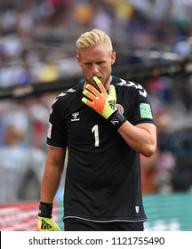 MOSCOW, RUSSIA - June 26, 2018: Kasper Schmeichel (GK) of Denmark  during the World Cup Group C game between France and Denmark at Luzhniki Stadium.