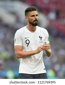 MOSCOW, RUSSIA - JUNE 26, 2018: France player Olivier Giroud on the pitch in the Group C game of the player's world championship between France and Denmark at the Luzhniki stadium.