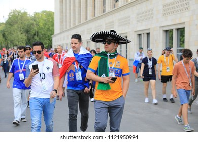 MOSCOW, RUSSIA - June 26, 2018: fans celebrating during the World Cup Group C game between France and Denmark at Luzhniki Stadium