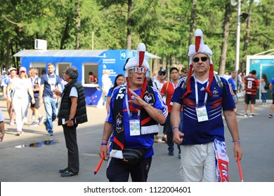 MOSCOW, RUSSIA - June 26, 2018: French and Denmark fans celebrating during the World Cup Group C game between France and Denmark at Luzhniki Stadium