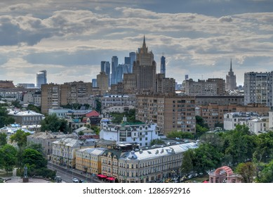 Moscow, Russia - June 26, 2018: Panoramic view of the Moscow city center skyline in Russia.