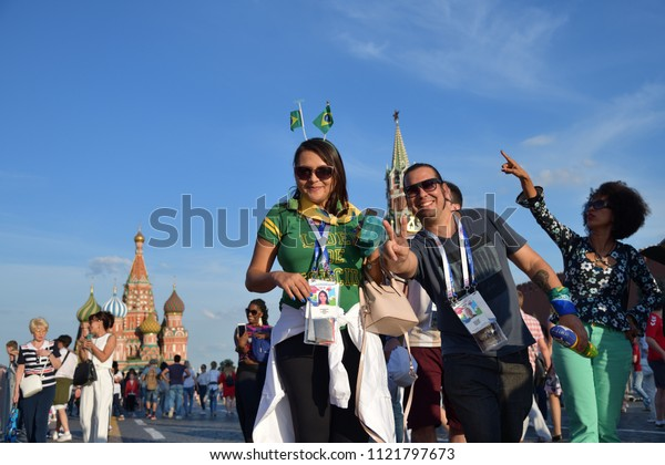 Moscow, Russia - June 26, 2018: Brazilian football fans on the Red Square in Moscow. FIFA world cup, Mundial 2018