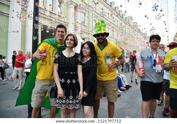 Moscow, Russia - June 26, 2018: Football fans from different countries on the streets of Moscow. Soccer fans from abroad walking down the Nikolskaya streets in Moscow, FIFA world cup, Mundial 2018