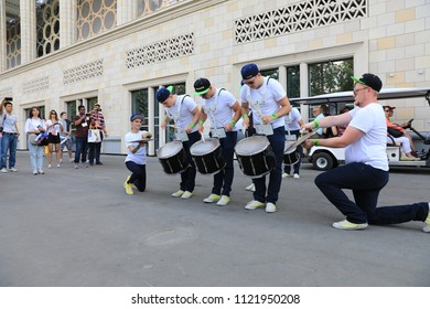 MOSCOW, RUSSIA - June 26, 2018:Show for fans celebrating during the World Cup Group C game between France and Denmark at Luzhniki Stadium