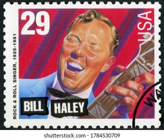 MOSCOW, RUSSIA - JUNE 26, 2020: A stamp printed in USA shows William John Clifton Bill Haley (1925-1981), rock and roll singer, American Music Series, 1993