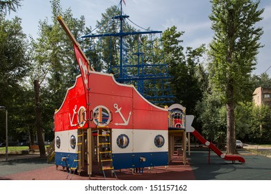 MOSCOW, RUSSIA- JUNE 27: June 27, 2013.  Playground in the form of a ship on a sunny summer day, Moscow, Russia