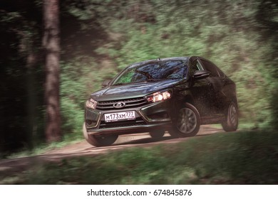 MOSCOW, RUSSIA - June 27, 2017: Lada Vesta is a small family car produced by the Russian car company AvtoVAZ since 2015. New Russian popular car.