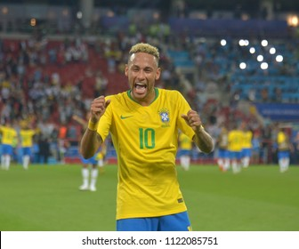 MOSCOW, RUSSIA - June 27, 2018: Neymar of Brazil celebrates after scoring a goal during the World Cup Group E football match between Brazil and Serbia at Spartak Stadium.