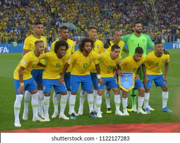 MOSCOW, RUSSIA - June 27, 2018: Brazil team posing for a photo during the FIFA 2018 World Cup. Brazil is facing Serbia in the Group E at Spartak Stadium.
