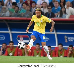MOSCOW, RUSSIA - June 27, 2018: Neymar of Brazil kicks the ball during the World Cup Group E football match between Brazil and Serbia at Spartak Stadium.