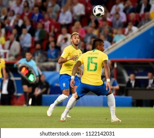 MOSCOW, RUSSIA - June 27, 2018:  World Cup Group E football match between Brazil and Serbia at Spartak Stadium.