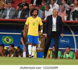 MOSCOW, RUSSIA - June 27, 2018: World Cup Group E football match between Brazil and Serbia at Spartak Stadium.  coach Tite and player Marcelo