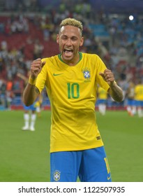 MOSCOW, RUSSIA - June 27, 2018: Player Neymar seeks his relatives in the audience after the match football match between Brazil and Serbia at Spartak Stadium.