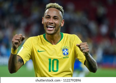 Moscow, Russia - June 27, 2018. Brazilian superstar Neymar after FIFA World Cup 2018 match Serbia vs Brazil.
