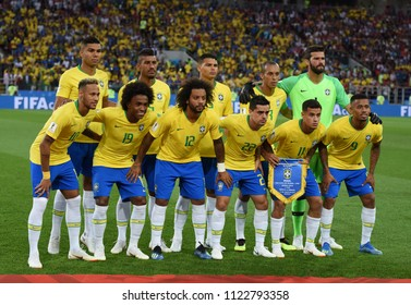 Moscow, Russia - June 27, 2018. National team of Brazil before FIFA World Cup 2018 match Serbia vs Brazil.