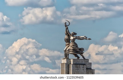 Moscow, Russia - June 27, 2018. Sculpture Worker and Collective Farm Girl (Rabochiy and Kolkhoznitsa) in Moscow