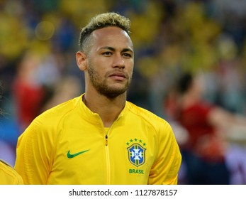 Moscow, Russia - June 27, 2018. Brazilian superstar Neymar before FIFA World Cup 2018 match Serbia vs Brazil.