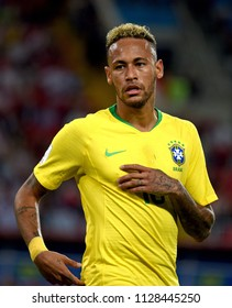 Moscow, Russia - June 27, 2018. Brazilian superstar Neymar duringFIFA World Cup 2018 match Serbia vs Brazil.