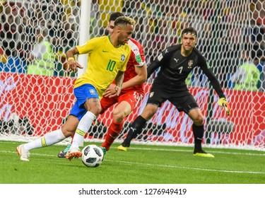 Moscow, Russia - June 27, 2018. Brazilian superstar Neymar in action during FIFA World Cup 2018 match Serbia vs Brazil.