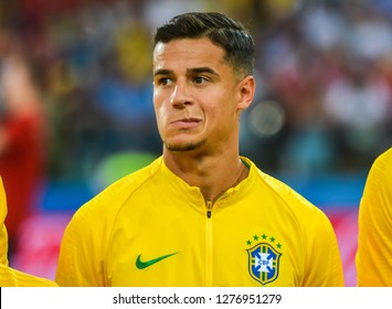 Moscow, Russia - June 27, 2018. Brazil national team midfielder Philippe Coutinho before FIFA World Cup 2018 match Serbia vs Brazil.