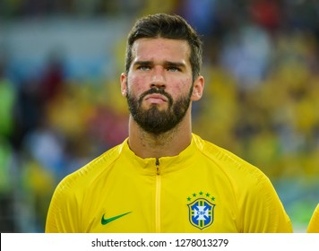Moscow, Russia - June 27, 2018. Brazil national team goalkeeper Alisson before FIFA World Cup 2018 match Serbia vs Brazil.