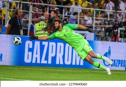 Moscow, Russia - June 27, 2018. Brazil national team goalkeeper Alisson during FIFA World Cup 2018 match Serbia vs Brazil.