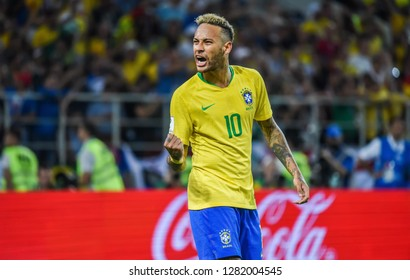 Moscow, Russia - June 27, 2018. Brazilian superstar Neymar after the second goal in FIFA World Cup 2018 match Serbia vs Brazil (0-2).