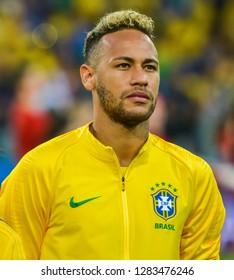 Moscow, Russia - June 27, 2018. Brazilian superstar Neymar before FIFA World Cup 2018 match Serbia vs Brazil.