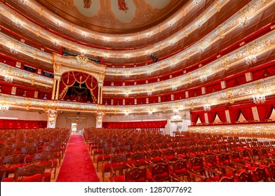 Moscow, Russia - June 27, 2018: The Bolshoi Theater, a historic theater in Moscow, Russia which holds ballet and opera performances.