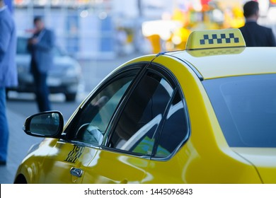 Moscow, Russia - June, 27, 2019: taxi in a center of Moscow, Russia