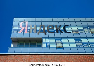 Moscow, Russia - June 28, 2017: Logo of the company of Yandex on office building in Moscow
