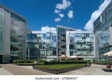 Moscow, Russia - June 28, 2017: Headquarter of Yandex company at day time. The courtyard of the company of Yandex, modern design architecture in the center of Moscow