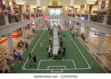 Moscow - Russia, June 28, 2018, Largest table of Toto (Table soccer) in the world, shopping center in downtown Moscow