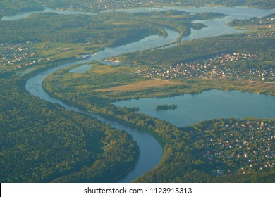 MOSCOW, RUSSIA - JUNE 28, 2018: Aerial view of small city on the river near the Moscow.