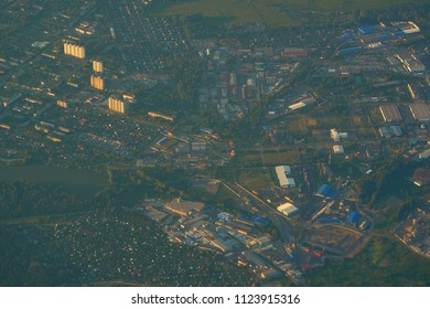 MOSCOW, RUSSIA - JUNE 28, 2018: Aerial view of small city near the Moscow.