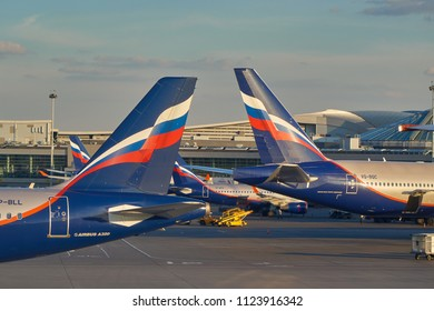 MOSCOW, RUSSIA - JUNE 28, 2018: Aircraft ground handling in Sheremetyevo International Airport.