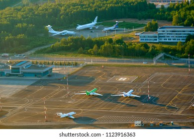 MOSCOW, RUSSIA - JUNE 28, 2018: Parked aircrafts at the Sheremetyevo International Airport.